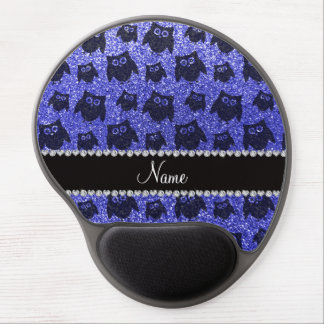 Personalized name neon blue glitter owls gel mouse mats