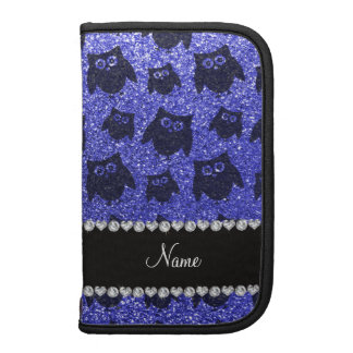 Personalized name neon blue glitter owls folio planners