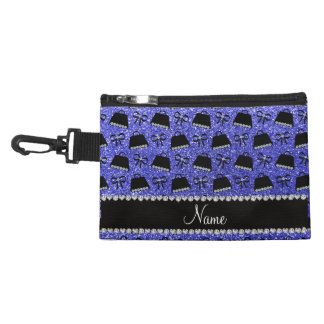 Personalized name neon blue glitter purses bow accessory bags