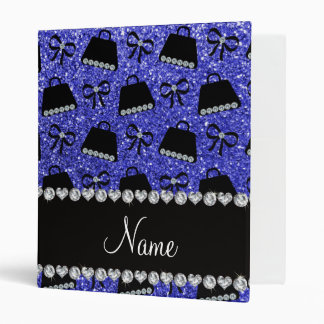 Personalized name neon blue glitter purses bow 3 ring binder