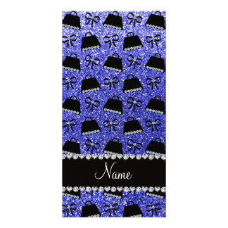 Personalized name neon blue glitter purses bow photo card