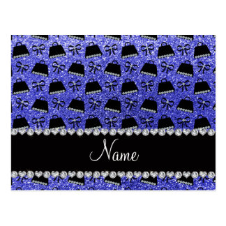 Personalized name neon blue glitter purses bow postcards