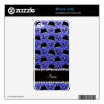 Personalized name neon blue glitter purses bow decals for iPhone 4S