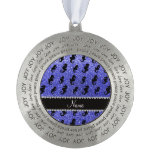 Personalized name neon blue glitter seahorses round ornament