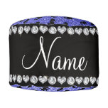 Personalized name neon blue glitter seahorses round pouf