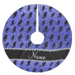 Personalized name neon blue glitter seahorses brushed polyester tree skirt
