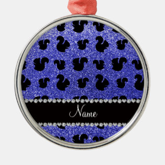 Personalized name neon blue glitter squirrel christmas ornaments