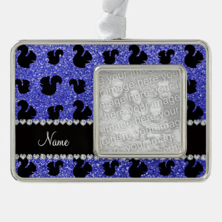 Personalized name neon blue glitter squirrel silver plated framed ornament