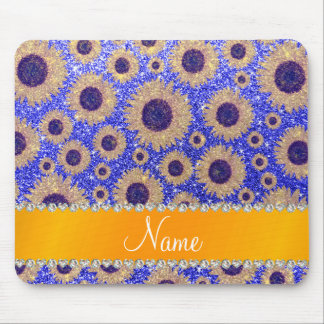 Personalized name neon blue glitter sunflowers mouse pad