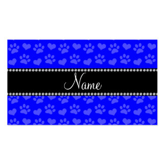 Personalized name neon blue hearts and paw prints Double-Sided standard business cards (Pack of 100)