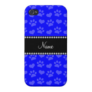 Personalized name neon blue hearts and paw prints covers for iPhone 4