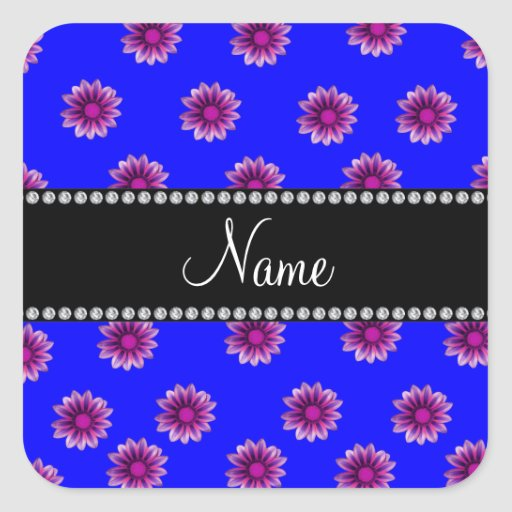 Personalized name neon blue purple pink flowers square sticker