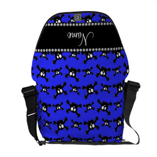 Personalized name neon blue skulls pattern courier bags