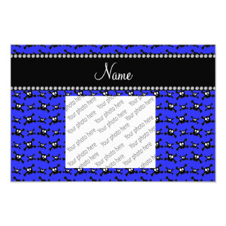 Personalized name neon blue skulls pattern photo