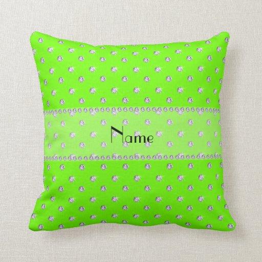 Neon Blue Throw Pillows : Personalized name neon green diamonds throw pillow Zazzle
