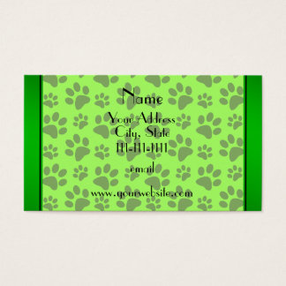Personalized name neon green dog paws business card