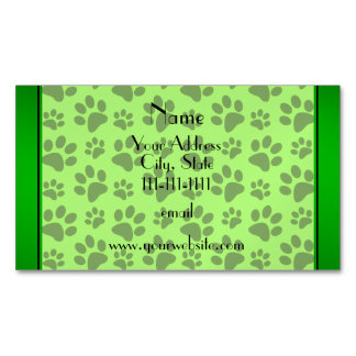 Personalized name neon green dog paws business card magnet