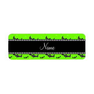 Personalized name neon green glitter bats return address label
