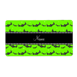 Personalized name neon green glitter bats shipping label
