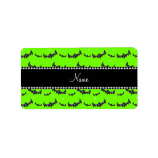 Personalized name neon green glitter bats address label