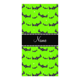 Personalized name neon green glitter bats photo card
