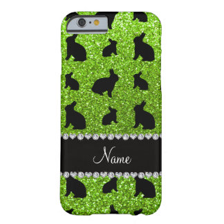 Personalized name neon green glitter bunny barely there iPhone 6 case