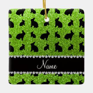 Personalized name neon green glitter bunny ceramic ornament