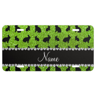 Personalized name neon green glitter bunny license plate