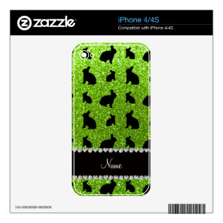 Personalized name neon green glitter bunny skins for the iPhone 4