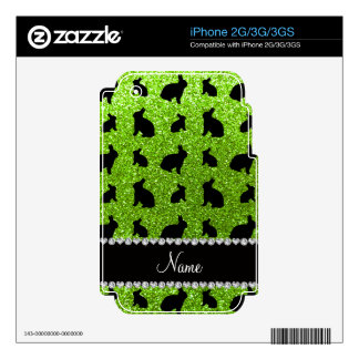 Personalized name neon green glitter bunny iPhone 3G decal