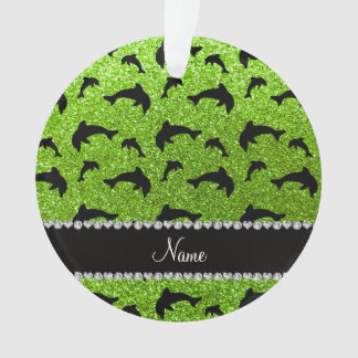 Personalized name neon green glitter dolphins