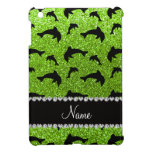 Personalized name neon green glitter dolphins iPad mini cover