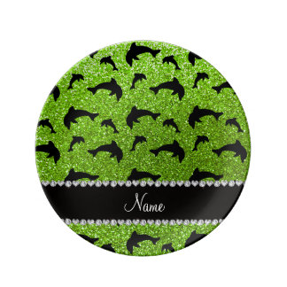 Personalized name neon green glitter dolphins porcelain plates