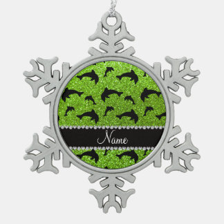 Personalized name neon green glitter dolphins ornaments