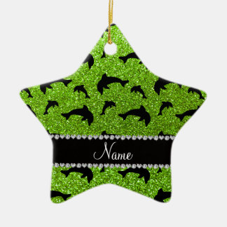 Personalized name neon green glitter dolphins ornament