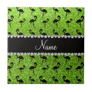 Personalized name neon green glitter flamingos tile