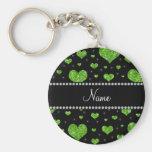 Personalized name neon green glitter hearts key chain