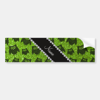 Personalized name neon green glitter owls bumper stickers