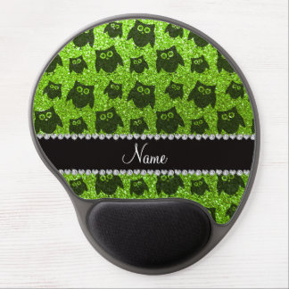 Personalized name neon green glitter owls gel mouse mats