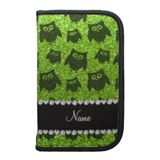 Personalized name neon green glitter owls folio planners