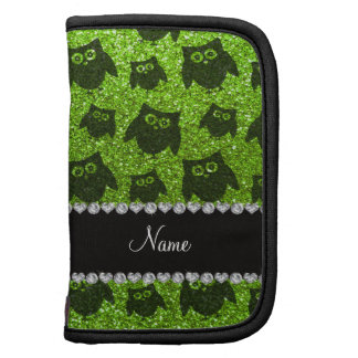 Personalized name neon green glitter owls planners