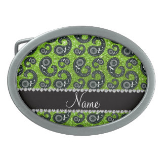 Personalized name neon green glitter paisley belt buckles