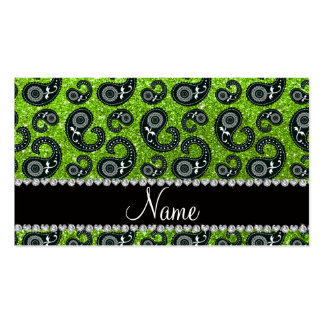 Personalized name neon green glitter paisley business cards