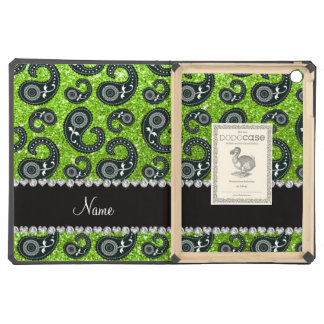 Personalized name neon green glitter paisley iPad air cover