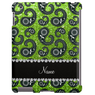 Personalized name neon green glitter paisley