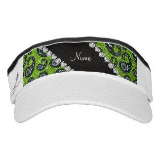 Personalized name neon green glitter paisley headsweats visor
