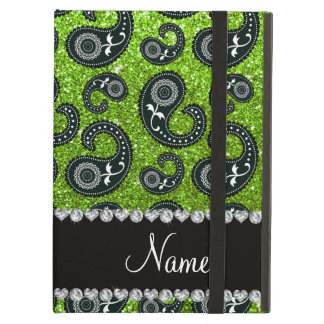 Personalized name neon green glitter paisley case for iPad air