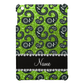 Personalized name neon green glitter paisley cover for the iPad mini
