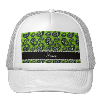 Personalized name neon green glitter paisley trucker hat