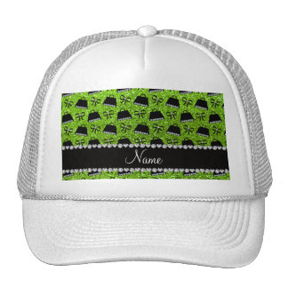 Personalized name neon green glitter purses bow mesh hat